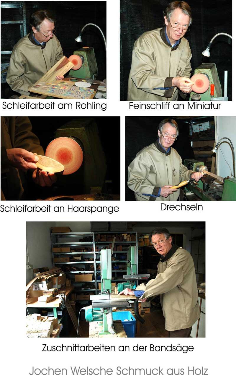 Herstellung Holzschmuck in unserer Werkstatt