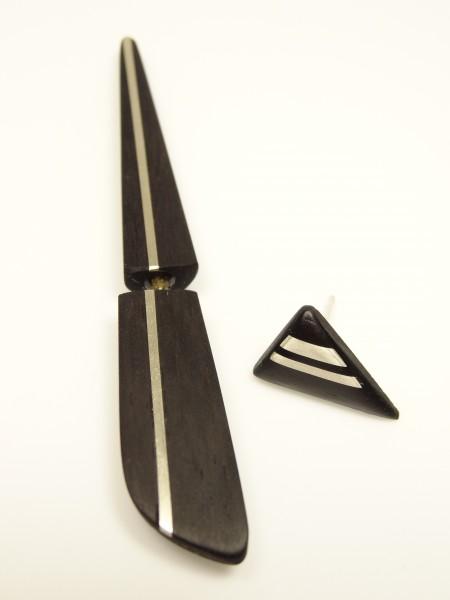 Ohrspieß Ebenholz mit Silber + Stecker