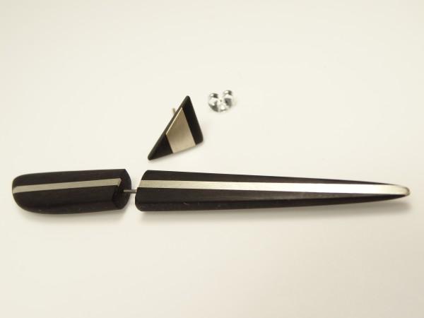 Ohrspieß Ebenholz Silbereinlage + Stecker