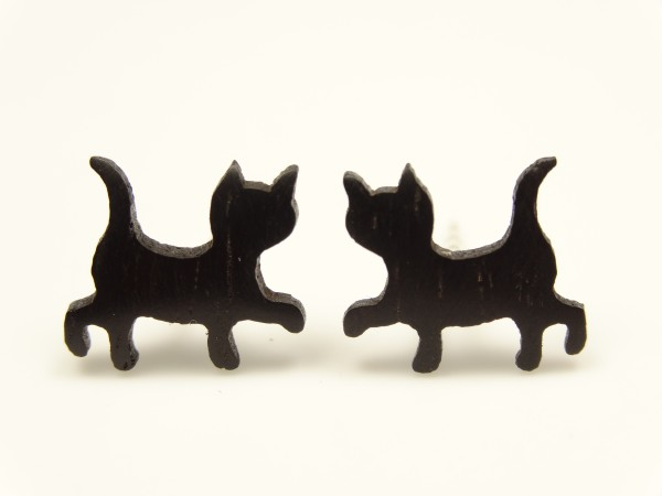 Ohrstecker Motiv Katze laufend