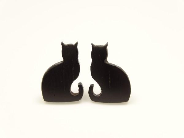 Ohrstecker Motiv Katze sitzend Schwanz oben
