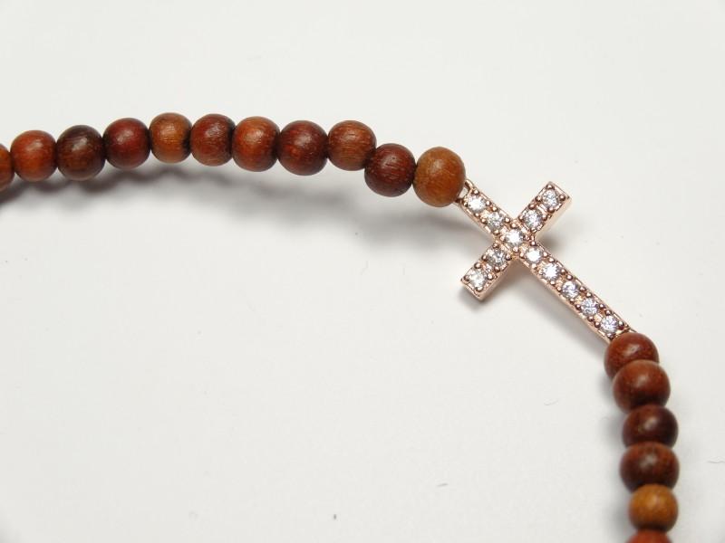 "Armband holzkugeln mit Kreuz ""rotgold"""