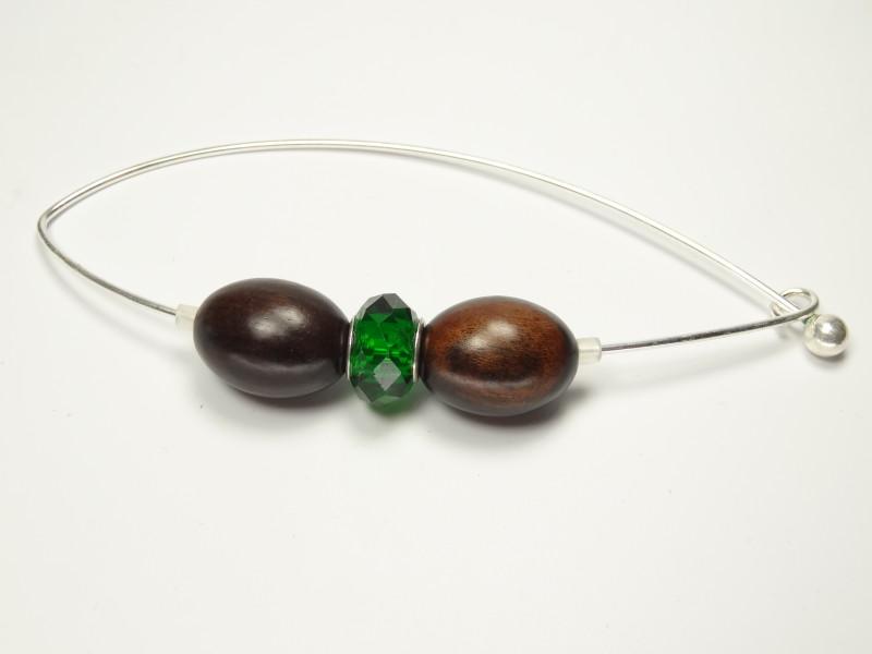 Fibel/Jackennadel Ebenholz-olive mit grünem Glas