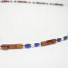 Kette mit Lapis Perle,Silber und Holz