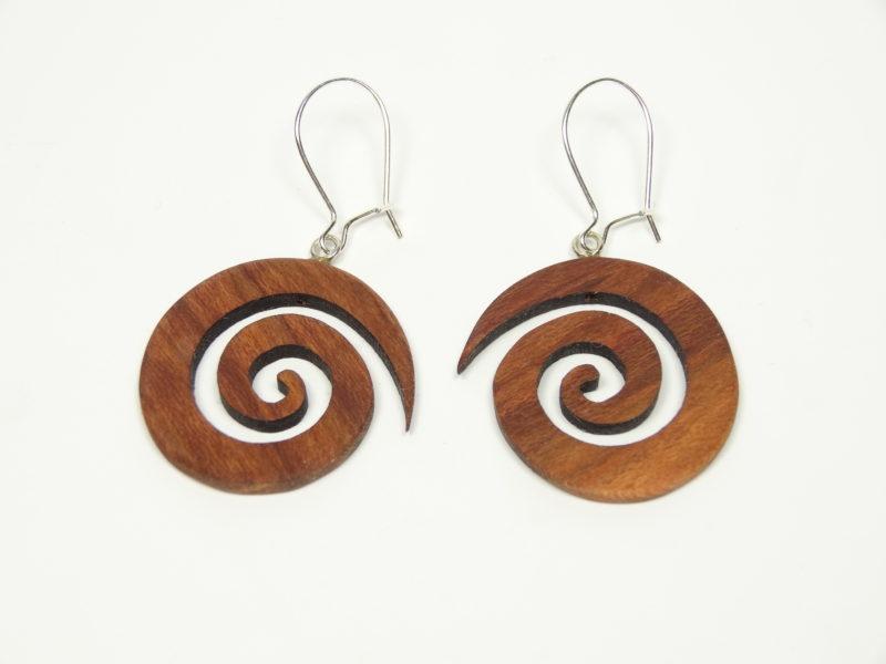 Ohrhänger Spiralform Pflaumenholz