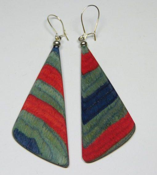 Holzohrhänger color blau rot